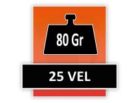 80 grams 25 Vel (Gelijmd aan de kop)